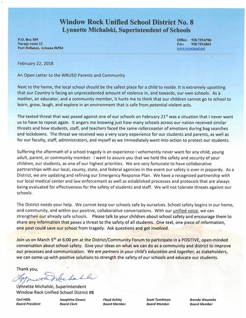 Open Letter to parents to Community